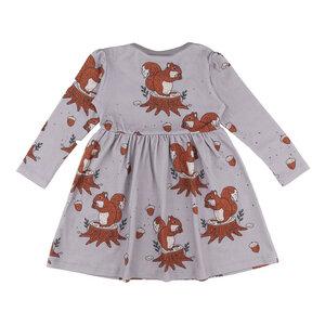 Walkiddy Jersey Mädchenkleid Eichhörnchen grau GOTS - Walkiddy