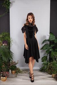 Abendkleid kurz schwarz mit Spitze Viskose - SinWeaver alternative fashion
