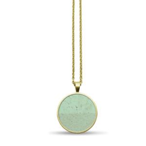 Lange Circle Halskette mit Kork Ø 20 mm | vergoldet, nickelfrei, vegan - KAALEE jewelry