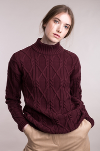 Gestrickter Aran-Pullover mit Rollkragen - Mila.Vert