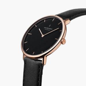 Armbanduhr Native Roségold | Schwarzes Ziffernblatt -Vegan Leder - Nordgreen Copenhagen