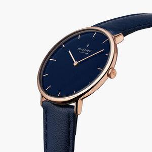 Armbanduhr Native Roségold | Blaues Ziffernblatt - Veganes Leder - Nordgreen Copenhagen