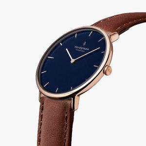 Armbanduhr Native Lille Roségold | Blaues Ziffernblatt - Veganes Leder - Nordgreen Copenhagen