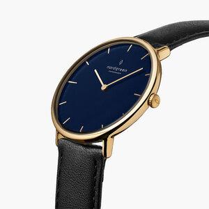 Armbanduhr Native Lille Gold | Blaues Ziffernblatt - Veganes Leder - Nordgreen Copenhagen
