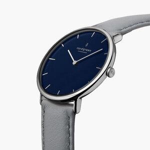 Armbanduhr Native Silber | Blaues Ziffernblatt - Veganes Leder - Nordgreen Copenhagen