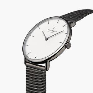 Armbanduhr Native Lille Anthrazit | Weißes Ziffernblatt - Mesharmband - Nordgreen Copenhagen