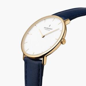 Armbanduhr Native Gold | Weißes Ziffernblatt - Veganes Leder - Nordgreen Copenhagen