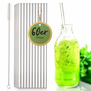 60 Stück - Glasstrohhalme für Gastronomie | Trinkhalme Glas Strohhalm - Skojig