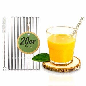 20 Stück - Glasstrohhalme für Gastronomie | Trinkhalme Glas Strohhalm - Skojig
