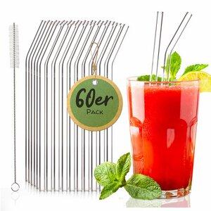 60 Stück abgeknickte Glasstrohhalme für Gastronomie, Events & Party - Skojig