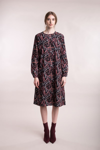 Kleid in A-Linie mit abstraktem Print - Mila.Vert