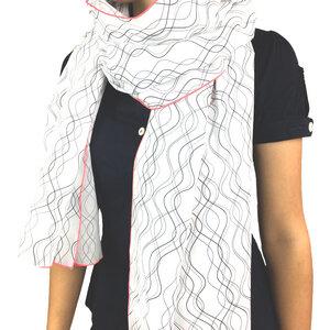 Langer Schal aus Bio-Baumwolle mit Neonrand  - Biostoffe Berlin by Julie Cocon