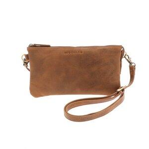 Portemonnaie-Tasche aus Vintage braunem Ökoleder - Lucy - MoreThanHip