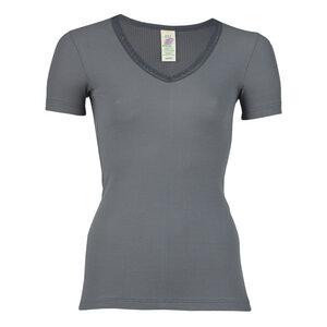 Damen Shirt Kurzarm mit Spitze Bio-Baumwolle - Engel natur