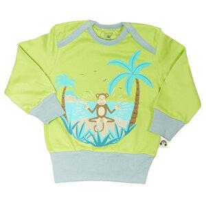 Mitwachs-Pullover mit Eco-Print Affe in der Karibik in Grau/Hellgrün - Chill n Feel