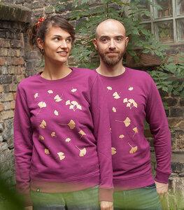 Ginkgoblätter in Gold - Unisex Sweater - Lila - päfjes