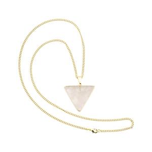Kleines Rosenquarz Dreieck - Halskette, vergoldet - Crystal and Sage