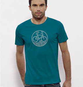 Fahrrad / Stadt & Natur, Berge & Bäume T-Shirt in Blau & Weiß - Picopoc
