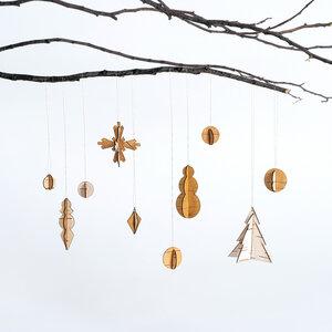 Weihnachtsanhänger-Set, Christbaumschmuck aus Birkenrinde / 4 Motive - MOYA Birch Bark