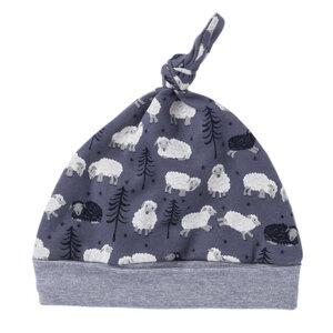Baby Mütze dunkelgrau bedruckt Bio Baumwolle People Wear Organic - People Wear Organic