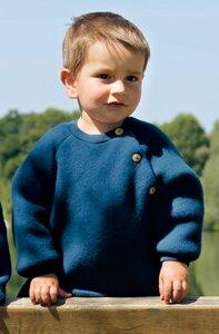 Baby Fleece-Pullover aus reiner Merino Schurwolle - Engel natur