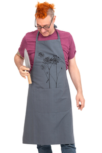 "Handgewebte graue Fair-Trade & Bio-Kochschürze ""Schierling"" - Hirschkind"