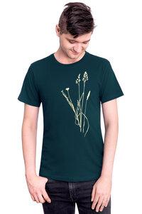 """Bio- & Fair-Trade-Männershirt """"Brandenburger Naturwiese"""" dunkelgrün - Hirschkind"""