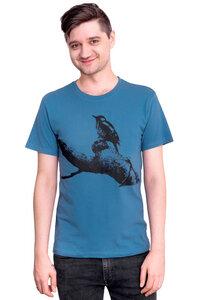 "Bio- & Fair-Trade-Männershirt ""Buntspecht"" denimblau - Hirschkind"