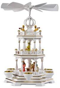 120 Jahre MÜLLER, Jubiläumspyramide 2-stöckig mit Christi Geburt, weiß-gold - Müller Seiffen