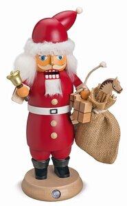 RauchKnacker® Weihnachtsmann m.Glocke u.Geschenkesack, 14x27cm  - Müller Seiffen