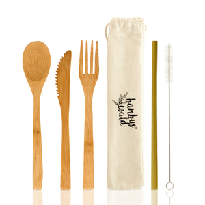 Besteck (Löffel, Gabel, Messer & Strohhalme) aus 100% Bambus - Bambuswald