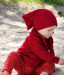 Engel Babybekleidung, Baby - Body langarmig, geringelt in Kirschrot/Orange oder Pflaume/Kiwi aus Wolle/Seide - Engel Naturtextilien
