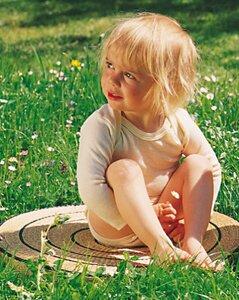 Engel Babybekleidung, Wickelbody langarmig, Wolle/Seide, für Frühchen - Engel natur