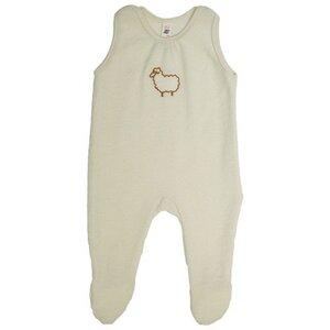 Engel Babybekleidung, Baby - Strampler mit Fuß, aus reiner Schurwolle  - Engel natur
