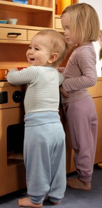Engel Babybekleidung, Baby-Hose lang mit Nabelbund, Wolle/Seide - Engel natur