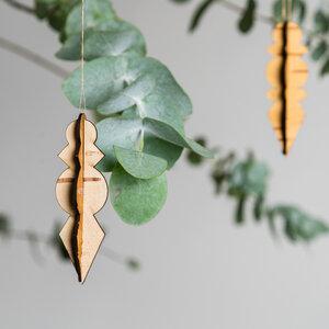 Eiszapfen / Weihnachtsanhänger aus echter sibirischer Birkenrinde - MOYA Birch Bark