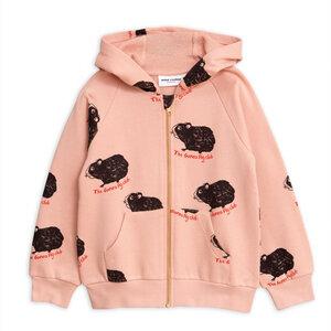 Mini Rodini, süße Kapuzen-Sweatshirt-jacke Meerschweinchen, Pink - Mini Rodini
