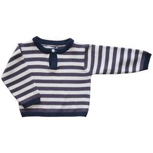 Baby Pullover gestreift mit kleinem Holzknopf aus 100% Bio-Baumwolle. - Serendipity