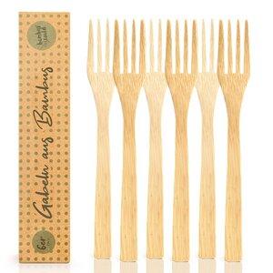 3er / 6er Set Gabel Essgabel aus 100% Bambus - ökogisch & plastikfrei  - Bambuswald