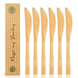 3er / 6er Set Messer aus 100% Bambus - ökogisch & plastikfrei  - Bambuswald