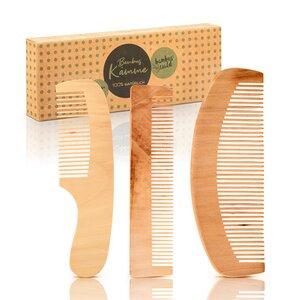 3er Set Haarkämme aus 100% Bambus - ökologisch in Handarbeit gefertigt - Bambuswald