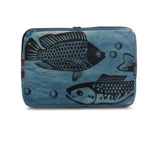 "Laptophülle Sleeve 13"" (34 x 24 cm) aus Zement-/ Fischfutter-/ Reissack - Upcycling Deluxe"