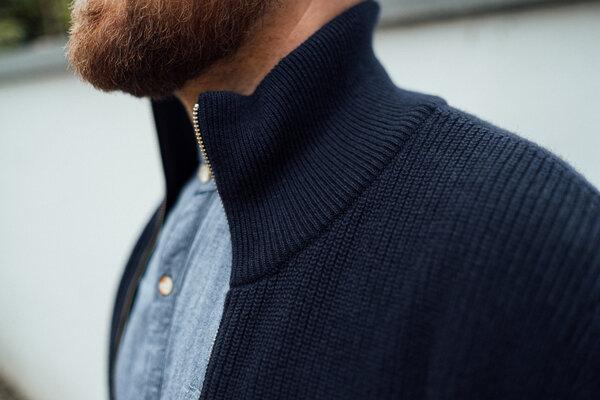 KnowledgeCotton Apparel Strickjacke aus Bio Wolle Rib knit zip cardigan GOTS | Avocadostore