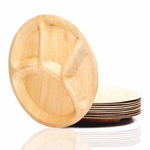 25x Palmblattteller mit Unterteilung  (ca 25cm Ø )- 100% Naturprodukt  - Palmenwald
