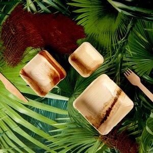 Palmblattteller eckig 25 Stück - 100% recyclebar  in 4 Größen - Palmenwald