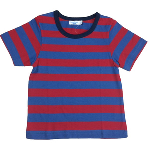 Kurzarmshirt blau-rot gestreift - Cotton People Organic