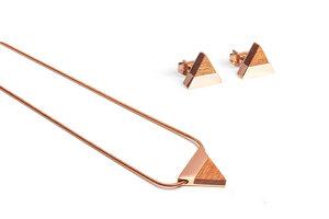 Ohrringe & Kette mit Anhänger aus Holz - Roségold - Rea Set - BeWooden