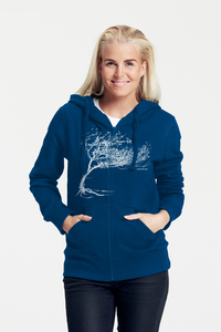 "Bio-Damen Kapuzenjacke ""Windy Tree"" - Peaces.bio - handbedruckte Biokleidung"