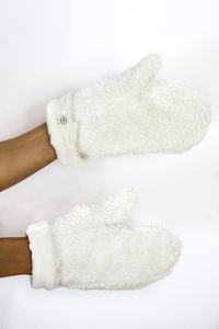 Damen Handschuhe Bio-Baumwoll-Plüsch vegan weiß  - erie Berlin