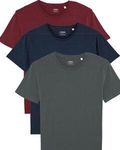 3er Pack Basic T-Shirt für Damen und Herren, 3 Farben, Mehrfachpack, Unisex - YTWOO